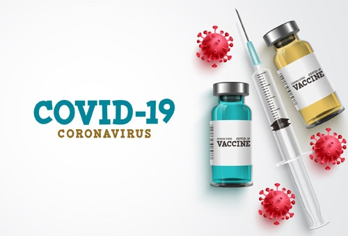 image of bottles of vaccine and needle with text COVID-19 Coronavirus