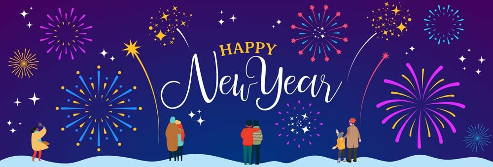 A Happy New Year message is shown with people watching a fireworks display. The people shown are standing at least 6 feet apart from others they don't live with.