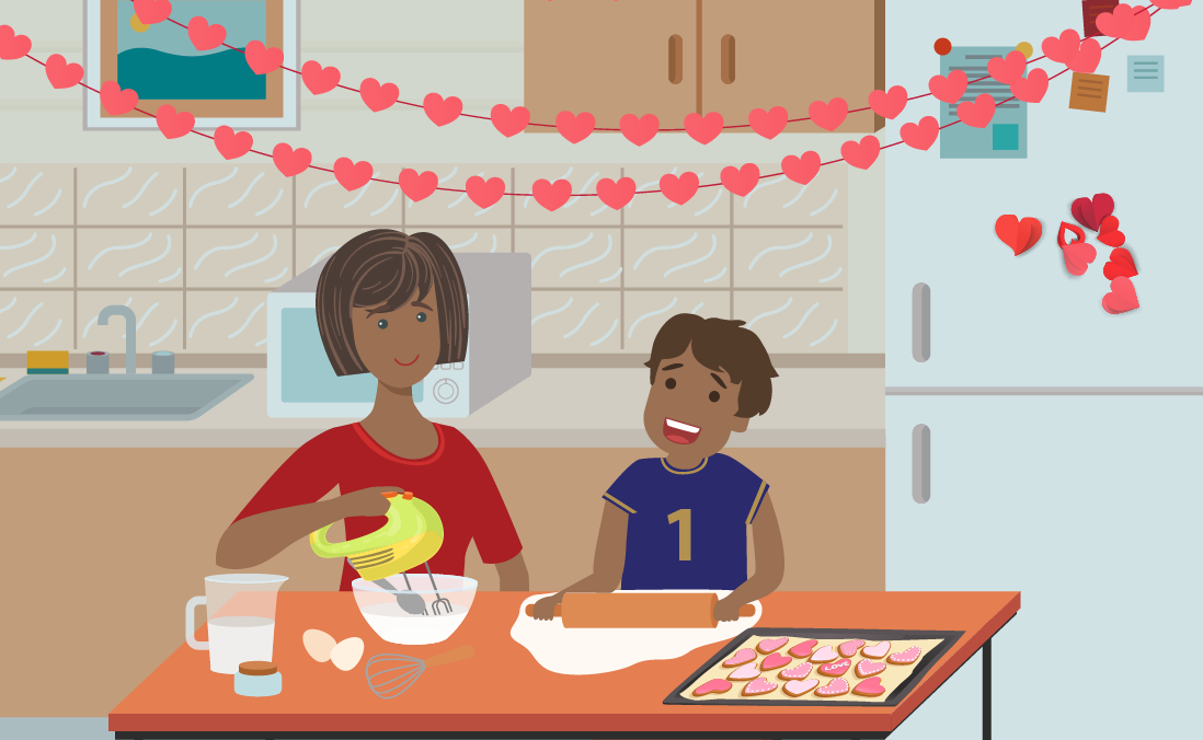 Image of a mother and son baking valentine's day cookies