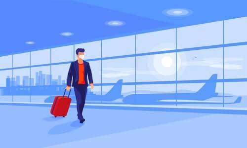 illustration of man wearing mask walking through an airport