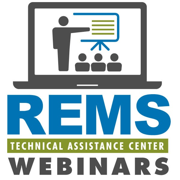 Readiness and Emergency Management for Schools Technical Assistance (REMS TA) logo with a laptop. The laptop depicts a person giving a presentation to 3 individuals on a projector screen