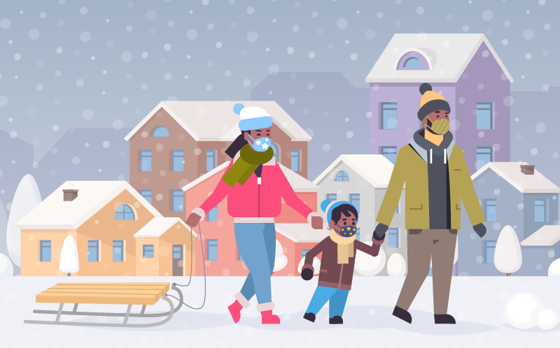 illustration of family sledding in snow with cloth face masks