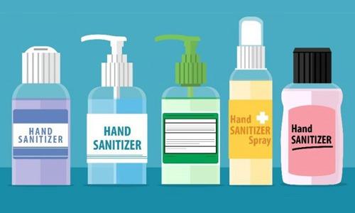 illustration of different bottles of hand sanitizer