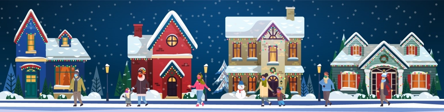 illustration of winter snow scene with houses and people wearing cloth face masks