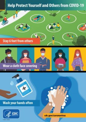 Illustration with text Help Protect Yourself and Others from COVID-19, stay 6 feet away from others, wear cloth face covering and wash hands often