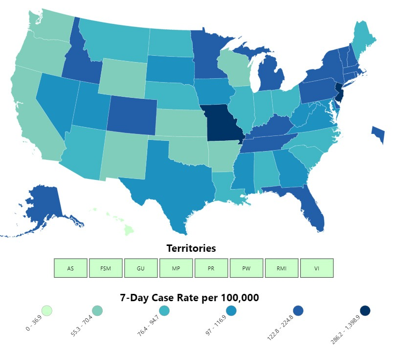 This map shows COVID-19 cases reported by U.S. states, the District of Columbia, New York City, and other U.S.-affiliated jurisdictions