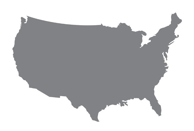 Grey map of the USA