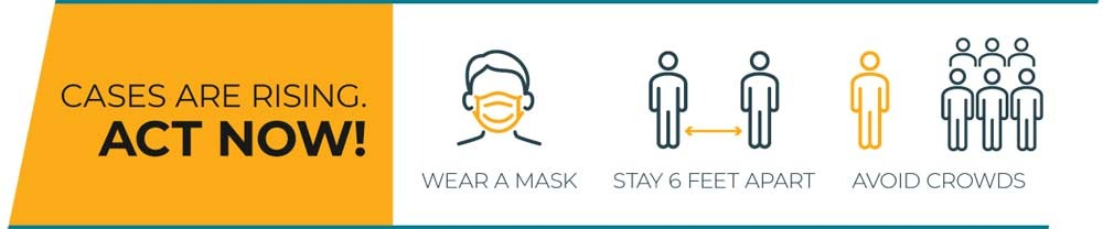 graphic with text Cases are rising. Act Now! Wear a mask. Stay 6 feet apart. Avoid crowds.