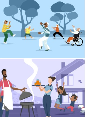 People shown outside doing tai chi and socially distanced. Picture of family outdoors grilling a meal.