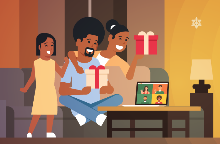 illustration of family opening gifts on video call